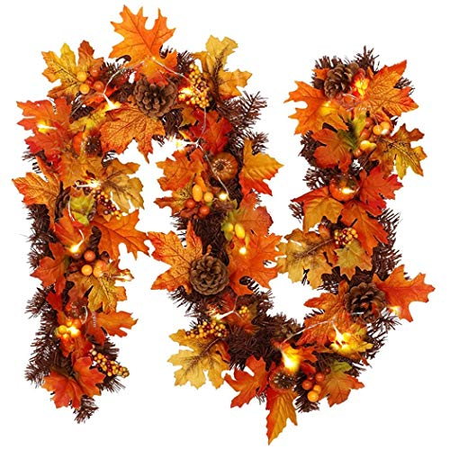 Bageek 5.91ft Halloween Maple Leaf Garland Decorative Leaves Garland Artificial Vine Window Display Ornament Home Decor
