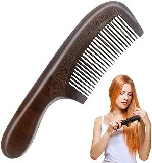 Peine Madera, melocotón natural Peine de pelo de grabado de doble cara con mango Masaje saludable Peines antiestáticos
