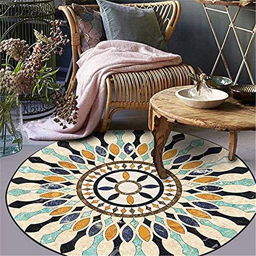 Nicole Knupfer - Alfombras de mandala, redonda, algodón, mandala, estampado bohemio, lavable, para salón, dormitorio, decoración (#F2,140 x 140 cm)