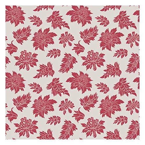 Tapete selbstklebend - Rotes Barock Blumenmuster Fototapete Quadrat 240 x 240 cm