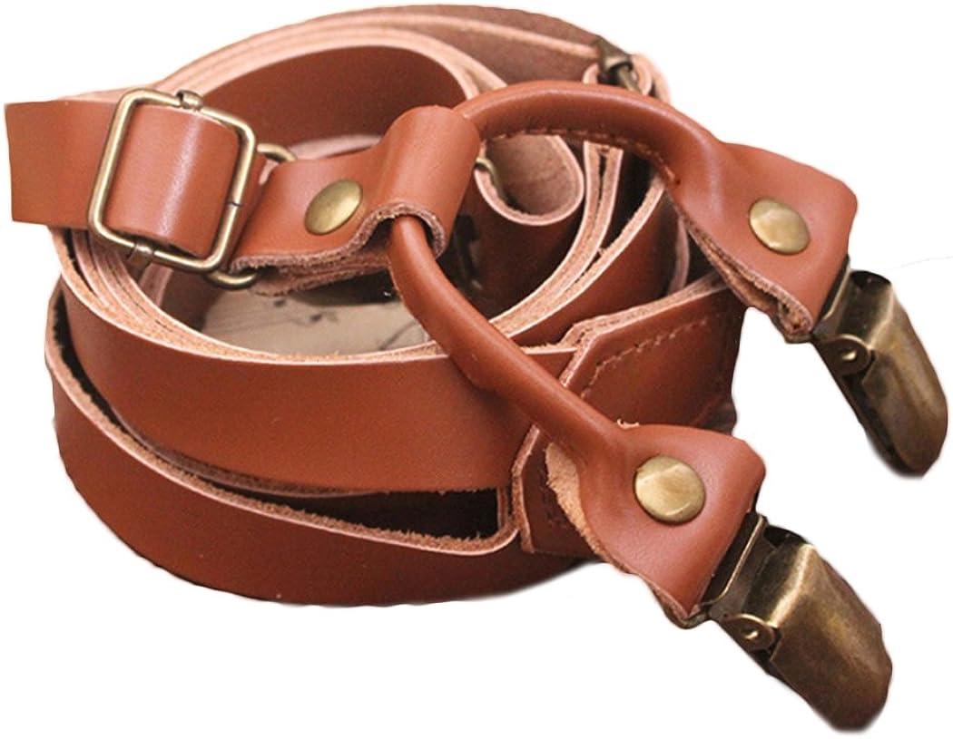 Raylans Men's Genuine Leather Suspenders