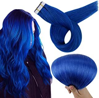 RUNATURE Tape In Hair Extensions 18 Inch Solid Colour Blue (