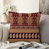 Decorative Pillow Soft Cover Colorful Abstract Traditional Paisley Indian Vintage Red Antique Shape Arab Beautiful Style Beauty Throw Pillow Covers Case for Couch Bed Sofa 16x16 Inch