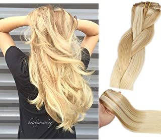 Clip In Human Hair Extensions Honey Bleach Blonde Extension Clip ins New Version Thickened Double Weft 9A Brazilian Hair 120g 7pcs Full Head Silky Straight 100% Human Hair Clip In Extensions 14 Inch
