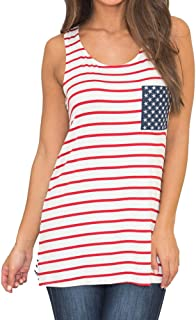 VESKRE Women's Summer Striped Vest Tank Top American Flag Printed Sleeveless Shirt Tank Tops