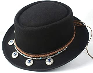 2019 Mens Womens Hats Unisex Men Women Flat Top Hat Autumn Pop Church Travel Hat Fascinator Wool Pork Pie Hat Tassel Fedora Jazz Hat Pop Lady Flat Hat Trilby Porkpie Hat