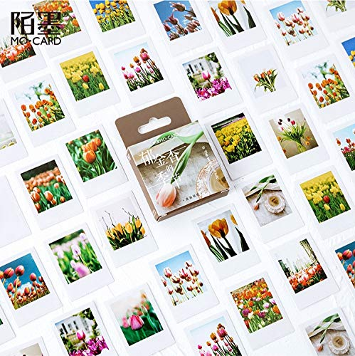 PMSMT 46 unids/Lote de Pegatinas de papelería de Temporada de Flores de tulipán, Etiqueta de Sellado, Pegatina de Viaje, álbum de Recortes DIY, planificador Diario, decoración de álbumes
