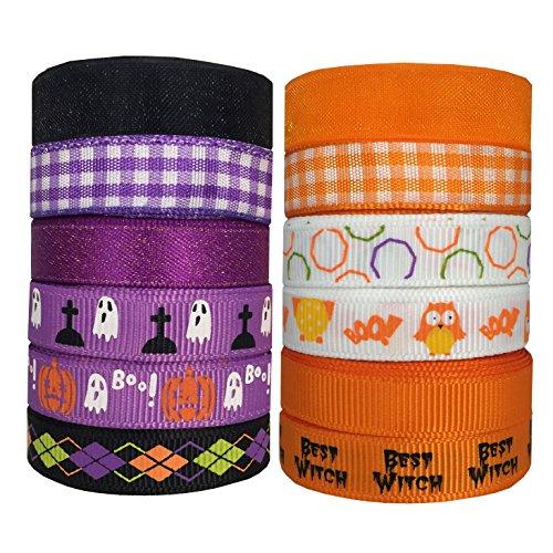 "DUOQU 24 Yards 3/8"" 12 Styles (12x2yd) Halloween Ribbon with Grosgrain Ribbon Plaid Ribbon Snow Yarn Printed Halloween Element Pattern Orange and Purple Series"