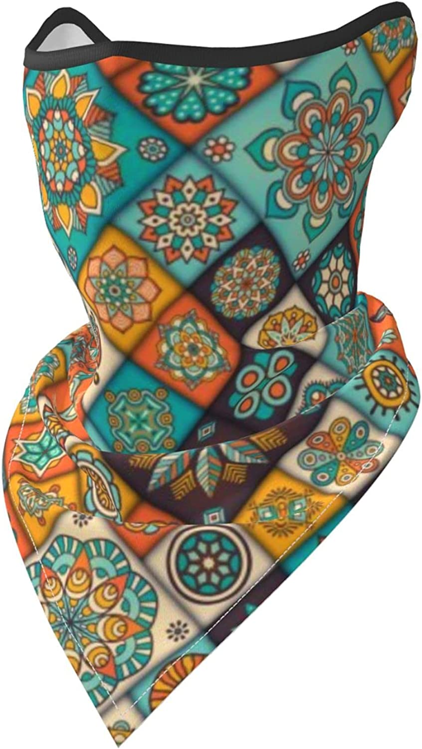 Bohemian Ethnic Floral Breathable Bandana Face Mask Neck Gaiter Windproof Sports Mask Scarf Headwear for Men Women Outdoor Hiking Cycling Running Motorcycling