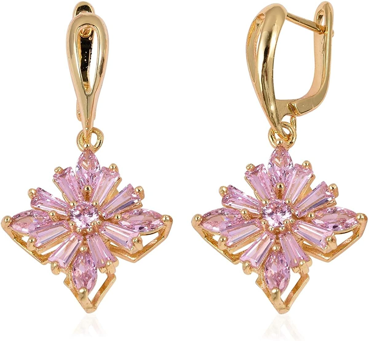 Shop LC Princess Cut Pink Cubic Zirconia Flower Floral Drop Dangle Earrings Rose Gold Plated Fashion Unique Gifts for Women Jewelry 4.1 ct Unique Gifts for Women