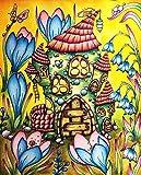Blrpbc Pintar por Numeros Imagen de la casa de Setas de Dibujos Animados de Bricolaje decoración del hogar para Colorear por números Regalo para el hogar Pintado a Mano para niña de Flores 40x50cm