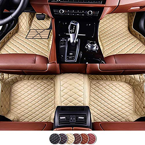 Veeleo Car Floor Mats for Toyota Prius NHW20 2003-2011 Artificial Leather Waterproof Custom-Fit All Weather Carpets (Beige, Toyota Prius NHW20 2003-2011)