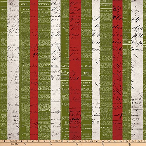 Freespirit Tim Holtz Merriment Xmas Stripe Multi Quilt Fabric by the Yard, Multi