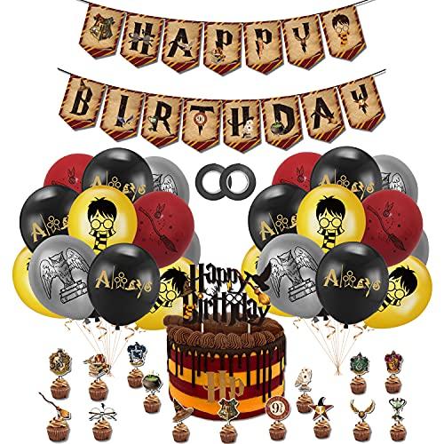 smileh Decoración Cumpleaños Harry Potter Globos Feliz Cumpleaños del Pancarta Adornos de Pastel Decoración de Tartas para Niños Mago Decoraciones de Fiesta Cumpleaños