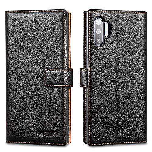 LENSUN Funda Samsung Galaxy Note 10 Plus/Note 10+ 5G, Funda de Cuero Genuino con Tapa Magnético y Ranuras para Tarjetas Carcasa Libro Protección para Samsung Note 10 Plus 5G - Negro (N10P-LG-BK)