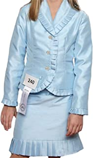 Girls' Satin Interview Pageant Suits Knee Length Ruffles Skrit Suit