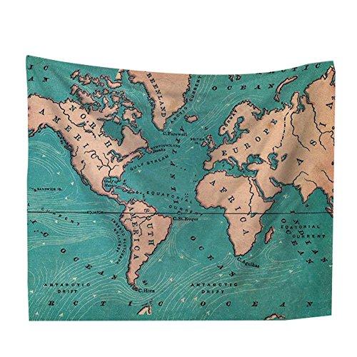 TREESTAR Wandbehang Tapisserie Tuch Wandtuch Gobelin, Motiv Weltkarte, als Wand Decor Stranddecke Dekotuch Tagesdecke Strandtuch Teppich Picknickdecke Campingdecke, 150 x 102 cm