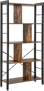 VASAGLE Bibliothèque de style industriel, Étagère de rangement à 4 niveaux, Meuble de rangement sur pied, pour Salon, Bureau, Montage facile,Armature en fer stable, Rustique LBC12BX