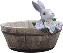 Poooyun-Life-baskets Landscape Cute Bunny Design Natural Resin Planter Flower Pot Home Garden Decors Wooden Bunny Pots,White,Medium