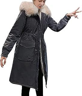 LENXH Women's Fur Collar Long Section Cotton Jacket Drawstring Waist Coat Loose Solid Color Cotton Clothing