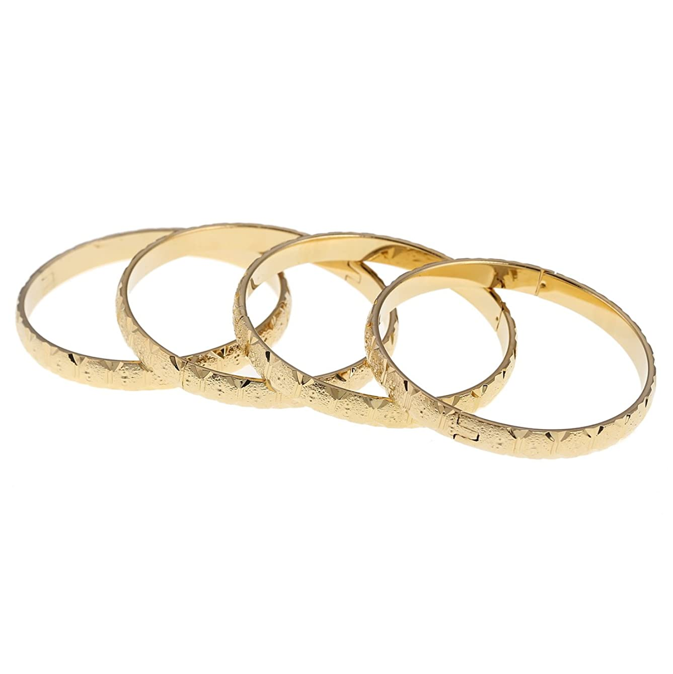Openable Dubai Gold Bangles 8mm Width Women Men 4pcs Gold European Bracelets
