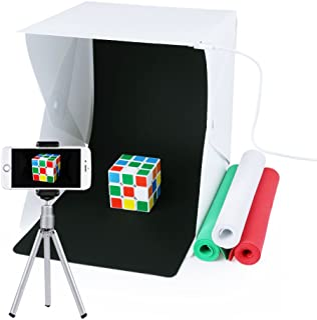 Estudio de fotografía Caja de fotografía portátil con luz LED 24x22x24cm Mini Estudio de iluminación incl. 4 fondo