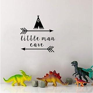 Wangjru 39X42Cm Little Man Cave Wall Decals Quote Words Nursery Boys Room Wall Decor Stickers