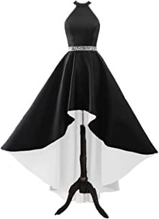 Halter High Low Evening Party Dress Long Satin Homecoming Prom Formal Gowns with Pockets