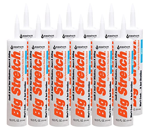 Sashco Big Stretch Acrylic Latex High Performance Caulking Sealant, White, 12pack, each 10.5 oz Cartridge