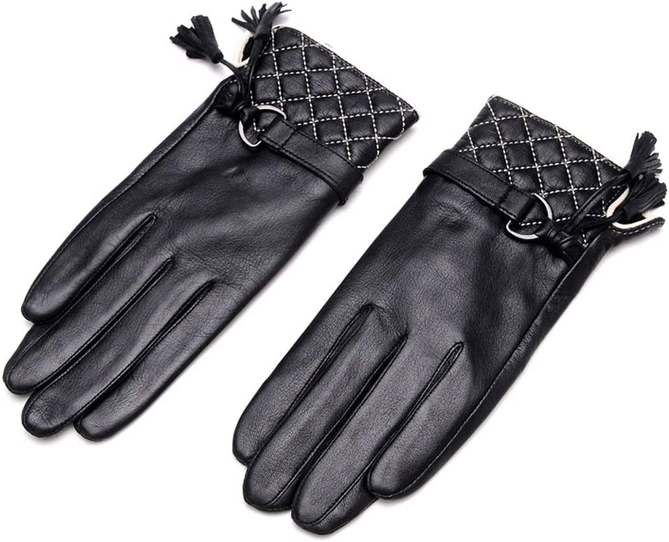 Zcx Elegant Ladies Gloves Autumn and Winter Thick Warm Ling Lattice Artificial Leather Fashion Tassel Finger Gloves (Color : Black, Size : XL)