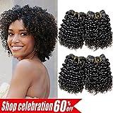AMELI 4 Bundles Kinky Curly Human Hair Short Curly Bundles Water Weave Hair Human Bundles Unprocessed Virgin Brazilian Hair Extensions (8 8 8 8)