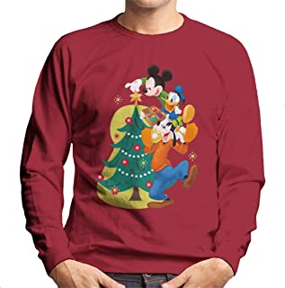 Disney Mickey & Co Decorating Christmas Tree Men's Sweatshirt