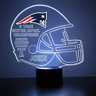 Mirror Magic Light Up LED Lamp - Football Helmet Night Light for Bedroom with Free Personalization - Features Licensed Decal and Remote (New England Patriots)