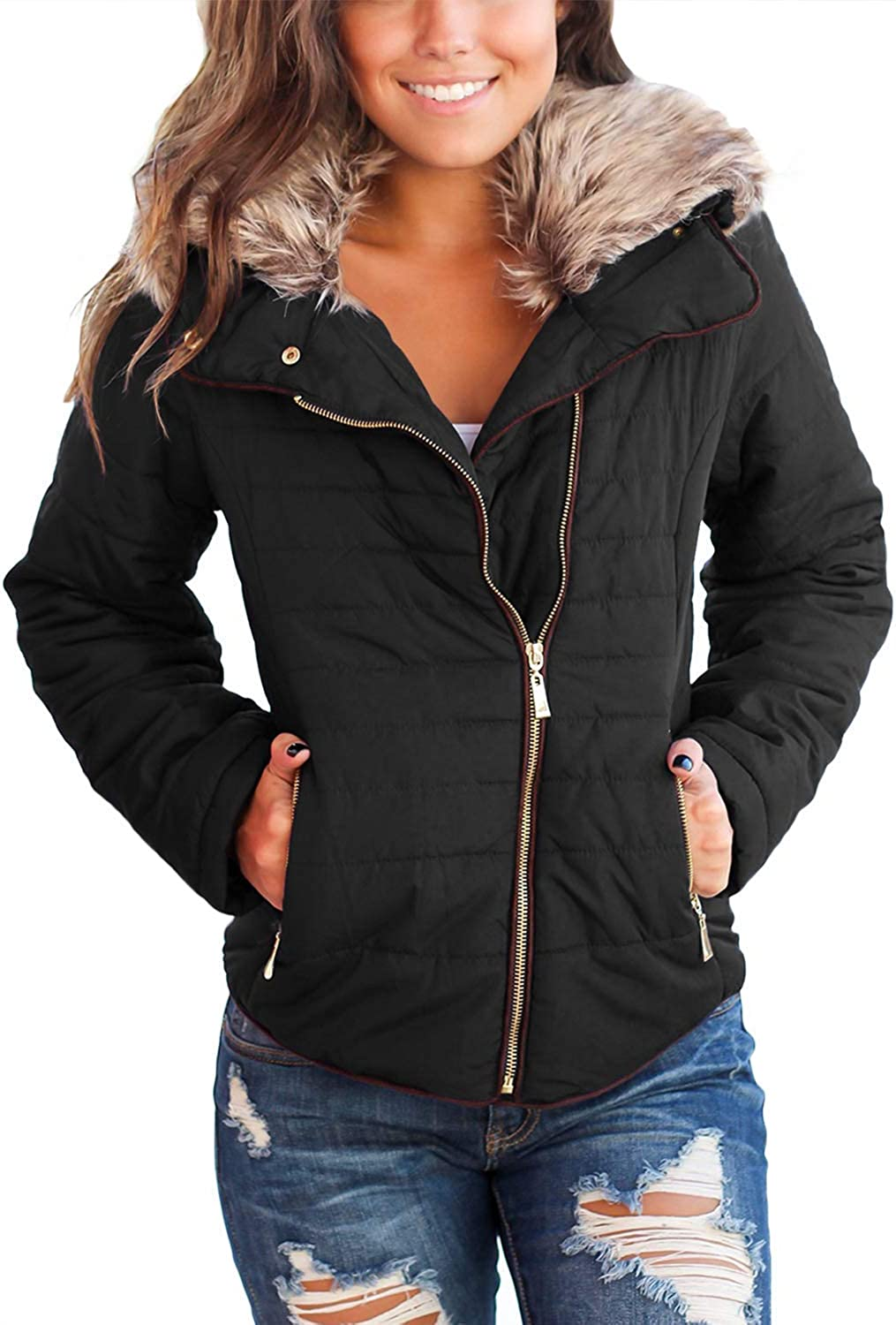 Kulee Womens Soft Faux Fur Collar Zip Up Quilted Jacket Coat Lightweight Outerwear