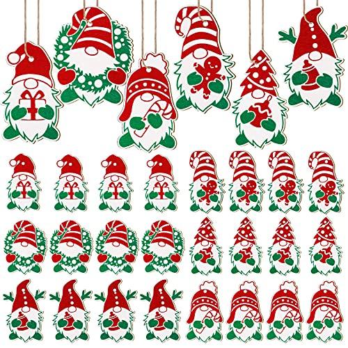 decorazioni natalizie da appendere 24 Ornamenti di Gnomi in Legno di Natale Decorazione da Appendere con Gnomo di Legno Insegna Gnomo Svedese in Legno di Natale Ornamenti da Appendere con Gnomi in Legno dell'Albero di Natale