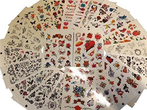 10 ou 20 Feuilles (75-150+ tatouages) Noir Pour Filles Femmes coloré Celte Roses Fleurs, Papillons, Cœurs style Tattoo Temporaire pour les fêtes, cadeaux, etc - par Fat-catz-copy-catz - 20x filles tatouage feuilles, Taille Unique