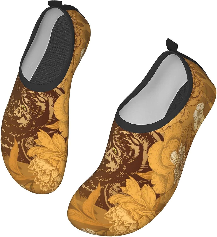 Golden Tiger Skin Stripes Flowers Men's Women's Water Shoes Barefoot Quick Dry Slip-on Aqua Socks for Yoga Beach Sports Swim surf