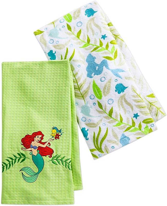 Disney Parks Authentic Ariel Little Mermaid Kitchen Dish Bath Hand Towel Set