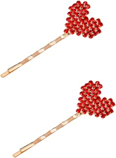 BinaryABC Red Love Heart Bobby Pin Hair Clips Hairpins,Valentines Day Gift,Valentines Day Party Favors,2Pcs