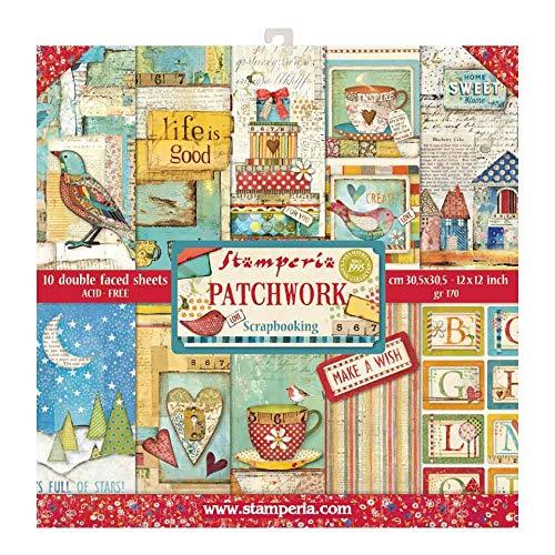 STAMPERIA SBBL49 Papierblock 10 Blätter doppelseitig Patchwork, Mehrfarbig, 30.5 x 30.5 (12