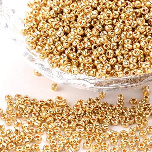 Lote de 1000 perlas de rocalla, diámetro de 2mm, doradas, para artesanías
