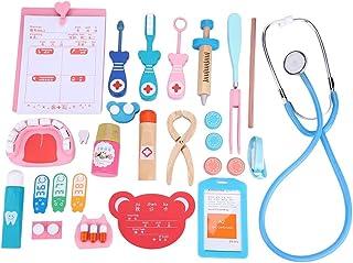お医者さんごっこ20点セット ミニドクター コスプレ医者ゲーム コスプレ玩具 知育玩具 実践能力 想像力 ごっこゲーム プレゼント 収納箱付き 木製 スムーズなエッジ処理 病院へ行く恐れを克服