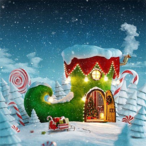 YongFoto 2,5x2,5m Foto Hintergrund Weihnachten Bäume Märchen Boot Haus Zuckerstange Lollipops Geschenke Schlitten schneit Winter Fotografie Hintergrund Photo Portrait Party Kinder Hochzeit Fotostudio