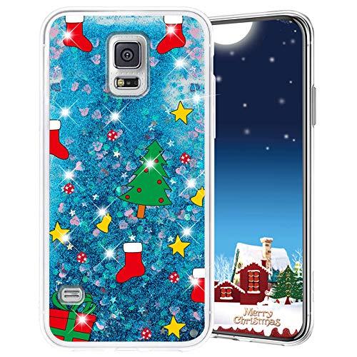 Misstars Weihnachten Handyhülle für Galaxy S5, 3D Kreativ Glitzer Flüssig Transparent Weich Silikon TPU Bumper mit Weihnachtsbaum Muster Design Anti-kratzt Schutzhülle für Samsung Galaxy S5 / S5 Neo