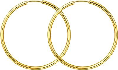 Orecchini oro giallo 333/585/750 Donna Cerchi Grandi 40 mm, largh. 2 mm, marchio di garanzia made in Germany