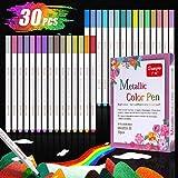 Baozun Metallic Marker Stifte Acrylstifte 30 Farben Metallic Pinsel Stifte Metallic Brush Pen Set
