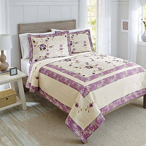 Super Soft, Beautiful, Soothing Floral Better Homes and Gardens Purple Blossom Cotton Quilt Collection, Sham
