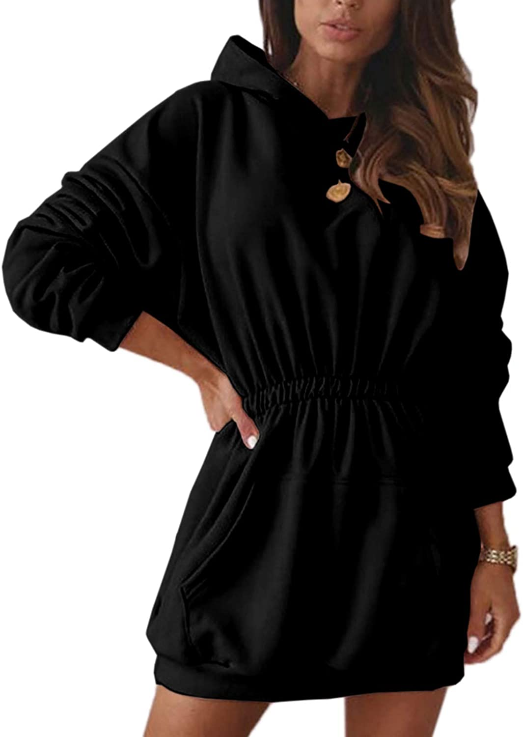 Womens Hoodie Dress Batwing Long Sleeve Empire Waist Ruched Pull