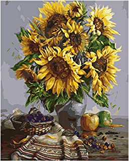 Paint by Numbers for Adults Beginner, 16x20 inches DIY Sunflowers Acrylic Painting Kits On Canvas Paintwork with 3 Pcs Pai...