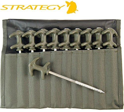 Strategy Outback Easy Grab Peg Set - 10 Bivvy Heringe für Karpfenzelt & Angelschirm, Zeltheringe für Zelt zum Angeln, Erdspieße